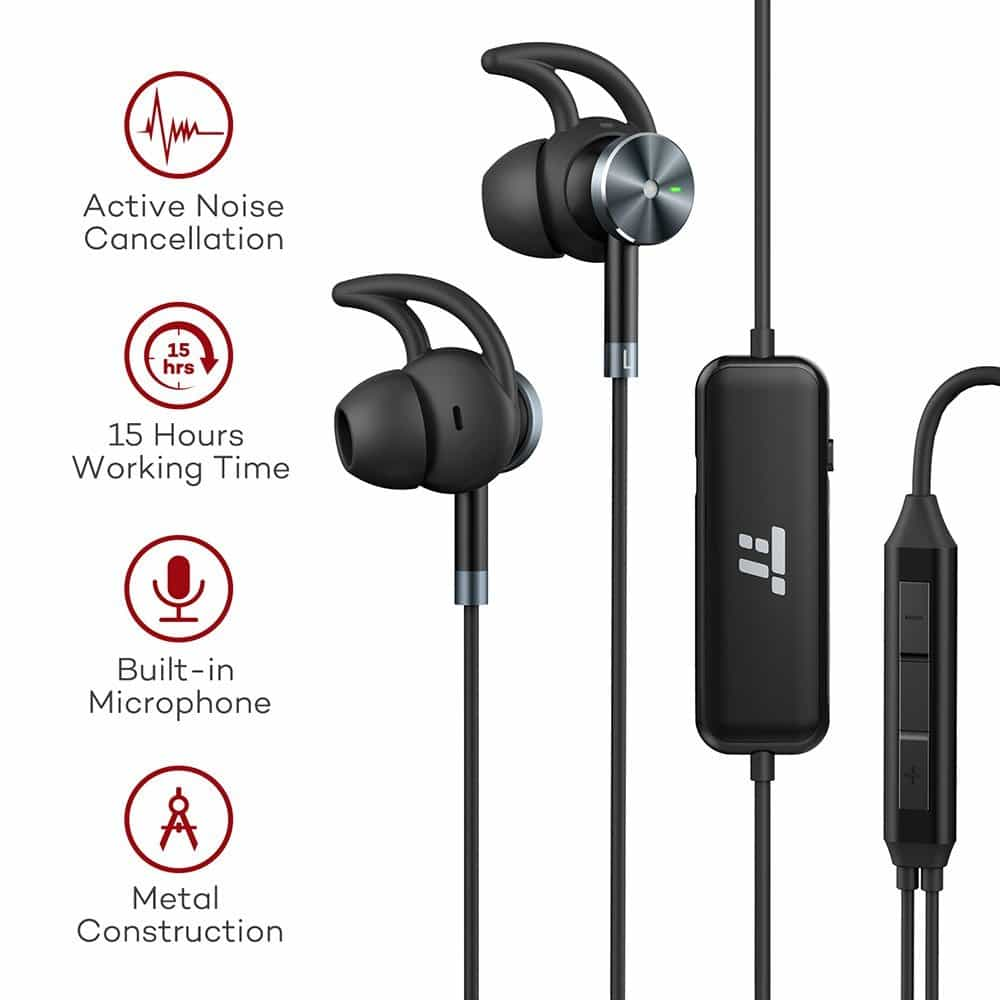 Earbuds with microphone noise cancelling - noise cancelling earbuds long cord